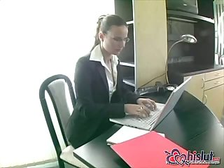 Sexy secretary analed in office