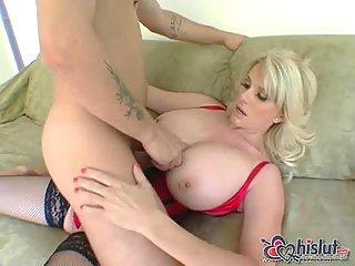 Huge boobs mom loves big cock