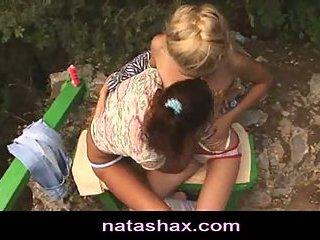 Natasha Shy and lesbian teen girlfriend outdoors