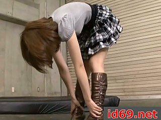 Japanese teen has hairy pussy