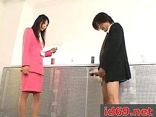 Japanese slut drilled in office