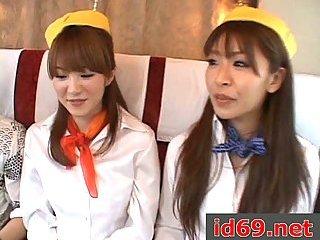 Japanese sluts give handjob & blowjob