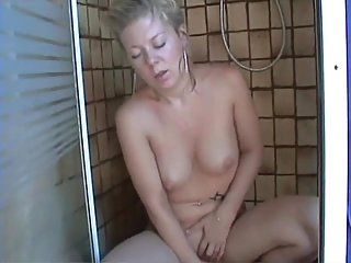 Katty Plays With Dildo In The Shower