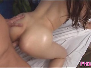 Booty brunette drilled on massage table