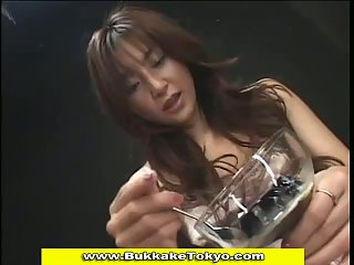 Japanese sweetheart eats yummy bowl of cum