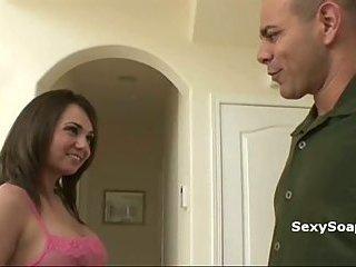 Naughty big tits babe gives soapy handjob
