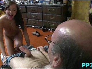 Teen brunette sucking old man cock