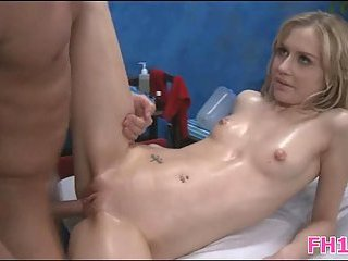 Blonde cutie banged on massage table