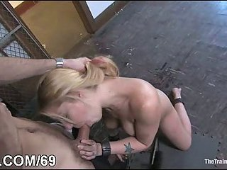Girl in bondage banged from behind