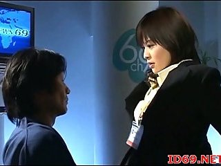Japanese hairy cunt drilled in office
