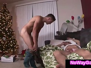 Gay shoves cock in sleeping guy mouth