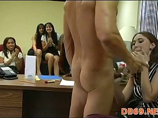 Office party with nude male stripper