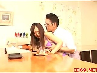 Japanese hottie banged from behind