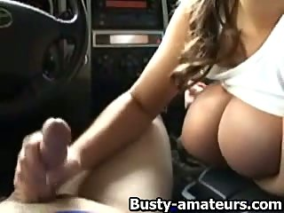 Brandy strokes cock while on the car