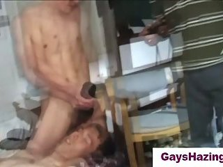 Straight guys forced to jerk off in a group