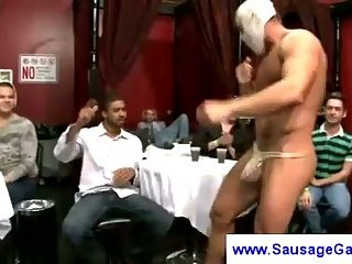 Horny guys groping stripper cock