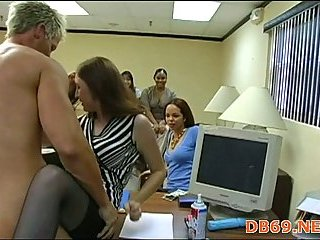 Group wild sex party in office