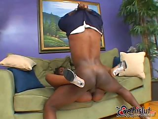 Hot ebony skank banged by big black cock