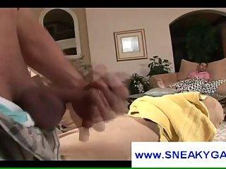 Gay perv jerks off watching guy sleep
