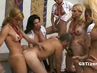 Six tranny schoolgirls pound guy ass