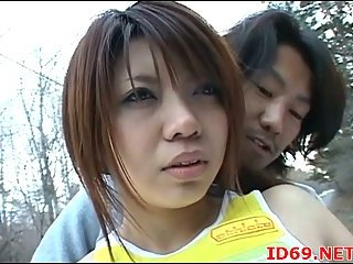 Japanese hottie sucks cock outdoor