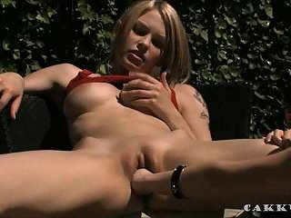 Cute chicks fisting outside