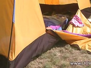 Loly jilling off in the tent