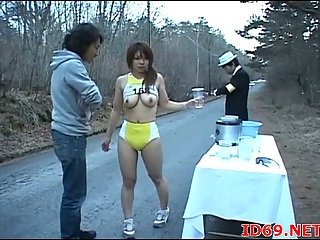 Japanese busty tart sucks outdoor