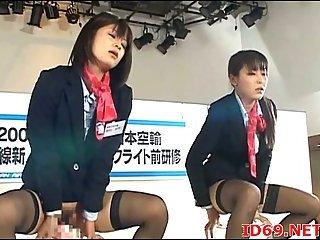 Japanese sluts dildoing hairy twats