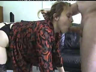 Wife in stockings gets doggy sex