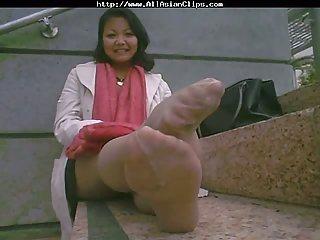 Asian Mature Stinky Feet After Work