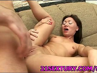 Cute Asian hoe tastes hot cum