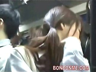 Thumb Jap schoolgirl gives blowjob in a bus