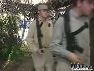 Sexy brunette in military uniform banged outdoor