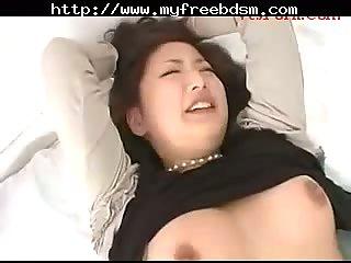 Japanese slave in bondage gets hard sex