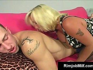 Busty old cougar licks dude ass