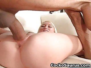Busty blond whore sucks huge cock