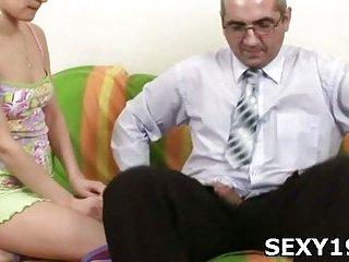Teen gal sucks old man cock