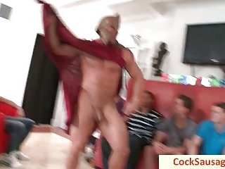 Horny gays having oral sex party
