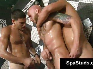 Gay blowjobs in bath house orgy