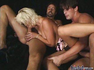 This slut gets showered with cum
