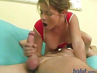 Amanda was born to deep throat a cock