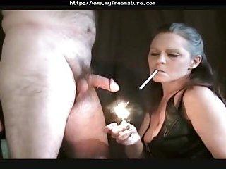 Sexy Cougar Smoking Blowjob