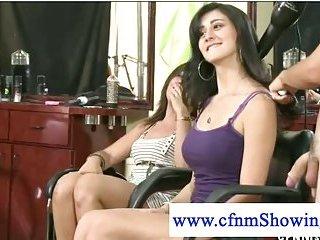 CFNM ladies spoiling one cock in public