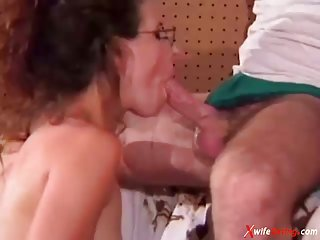 Shy geek housewife gets both holes stuffed