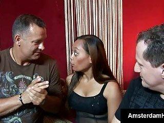 Gorgeous asian babe blows foreigner