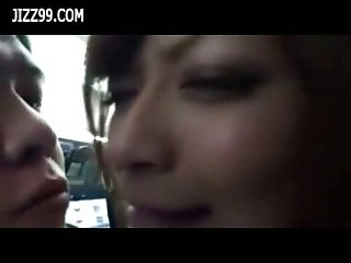 Busty Japanese sucks in public