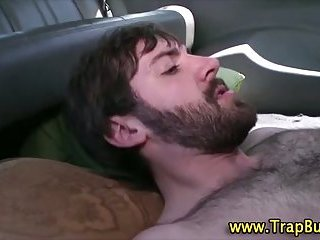 Nasty gay hunk cums after jerking off