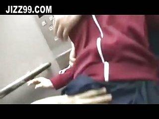 Schoolgirl hardcore double penetration creampie in elevator