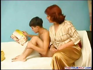 Skinny boy with chubby mature Russian woman